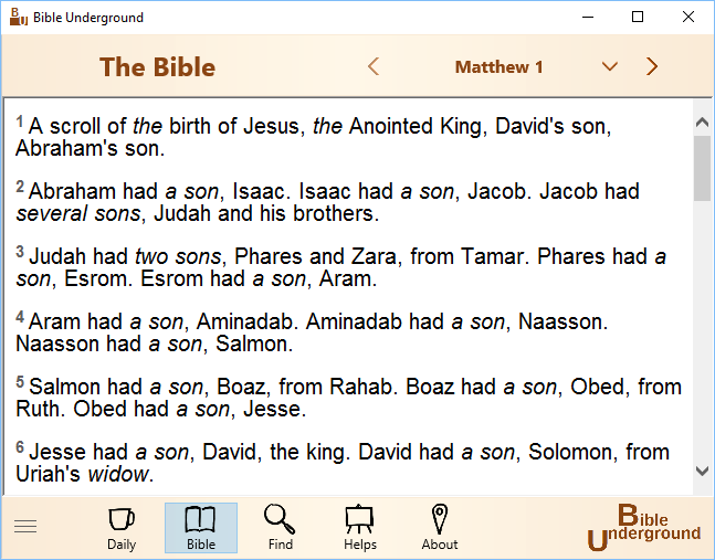 Click to view Bible Underground 1.3.0.0 screenshot